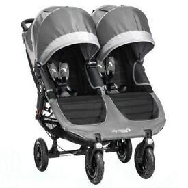 Twin Stroller - Baby Jogger City Mini GT Double with Raincover