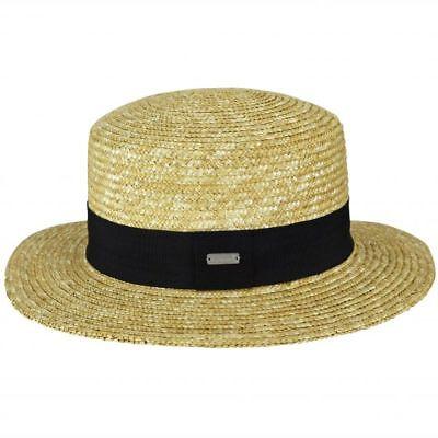 KANGOL-Wheat Braid Boater Hat-100% Straw-Natural-Medium or Large-NWT - Kangol Straw Braid