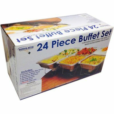 NEW 24 Piece Food Buffet Set Serve-Rite Catering Party Aluminum Warmer Chafing