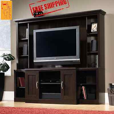 مكتبة تلفزيون جديد Cherry Entertainment Center TV Stand Wood Storage Media Cabinet Furniture Shelf