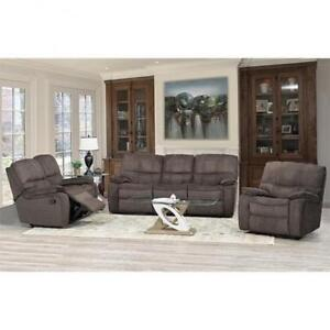 Textured Fabric Recliner Set - available in Brown & Grey (BD-1847)