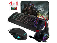 RGB Gaming 4-in-1 bundle Keyboard, Mouse, Mouse Mat and Headset