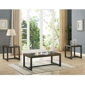 3 Pc Wooden Coffee table Set with glass Insert  (BD-1937)