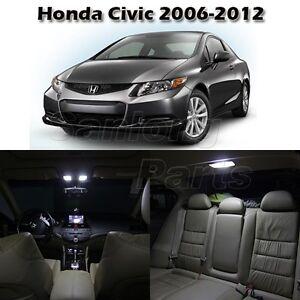 6x White Interior Light Led Bulb Package For Honda Civic 2006 2012 Sedan Coupe