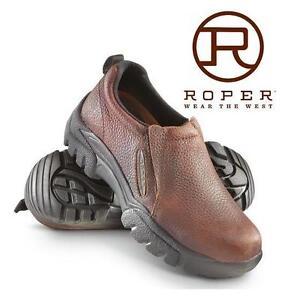 NEW ROPER SHOES MEN'S 10 BAY BROWN - LEATHER - SPORT SLIP ON 99590718