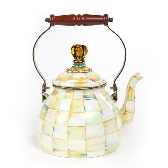 Mackenzie Childs Parchment Check Enamel Tea Kettle - 2 Quart