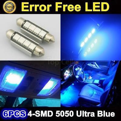 6x Ultra Blue 42MM LED SMD Canbus Festoon Dome Map Light lamp Car Bulbs 578 570