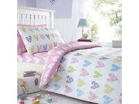 Blue zoo single duvet and pillow - hearts