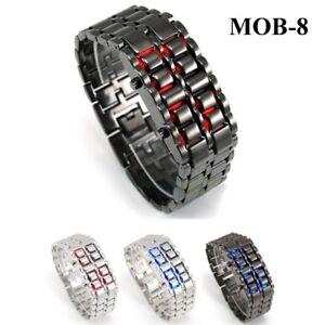 MOB-8 Montre-bracelet Acier Inox Lumière Bleu / Rouge Homme VVV