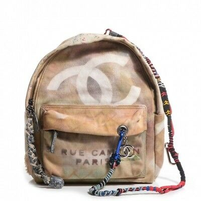 Authentic Chanel Graffiti Printed Canvas Backpack, Medium, Sold Out! - Pre-Owned