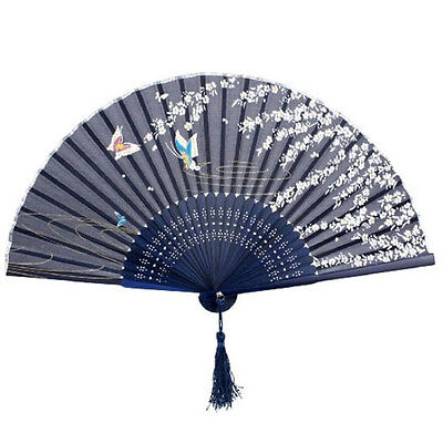 Chinese Japanese Folding Hand Held Fan Silk Butterfly Flower Bamboo Pocket Fan