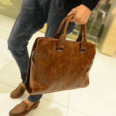 Mens Leather Shoulder Messenger Bags Business Work Bag Laptop Briefcase Handbag