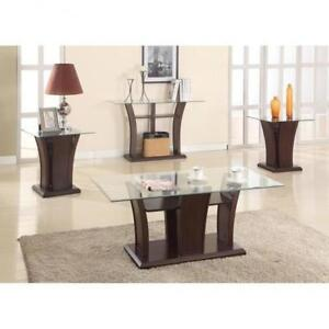 Espresso wood and Glass Coffe Tables (BR261)