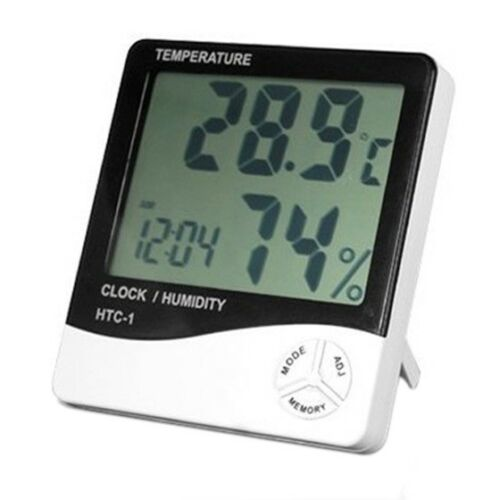 Digital LCD Temperature and Humidity Meter Clock Alarm X6O1