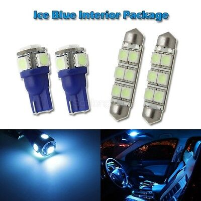 4 Interior Package Kit Ice Blue Map Dome LED Light Bulb T10 194 W5W 6411 Festoon