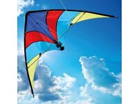 COLOURFUL KITE, STILL IN PACKAGE. 117 X 66 CM. YELLOW, RED, PURPLE & BLUE. MADE BY BROOKITE