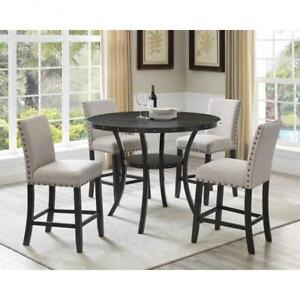 Beige Traditional Pub Height Dining Set BD 1785