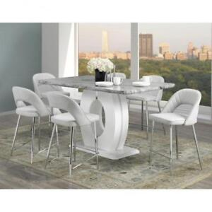 Pub Height Modern Grey White Dining Set BD 1826