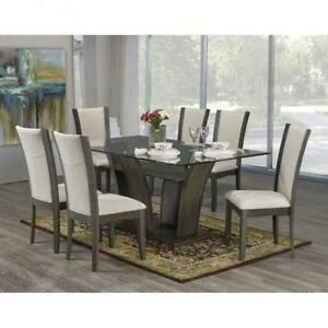 7 PC Grey Glass Dining Set on Sale (BD-1807)