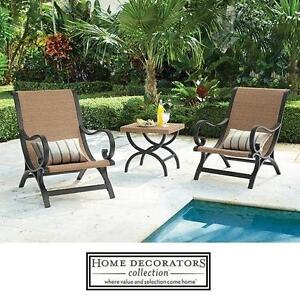 NEW HDC 3 PIECE WICKER PATIO SET - 122817725 - HOME DECORATORS COLLECTION - 2 CHAIRS  TABLE - OUTDOOR FURNITURE DECOR