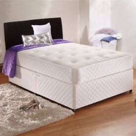 3FT 4FT6 5FT MATTRESS IN BLACK AND WHITE DOUBLE DIVAN BED FRAME WITH PLAIN HEADBOARD