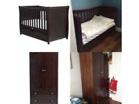 Mothercare Bordeaux Wardrobe and Bed with firm mattress