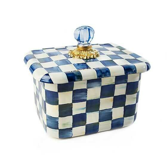 MacKenzie-Childs Royal Check Enamel Recipe Box