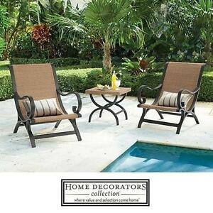 NEW* 3 PIECE WICKER PATIO SET - 132098522 - HOME DECORATORS COLLECTION 2 CHAIRS  TABLE - OUTDOOR FURNITURE DECOR