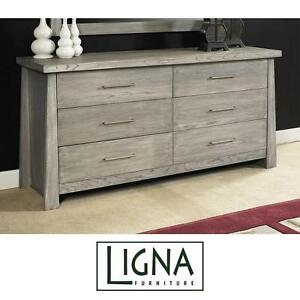 NEW* LIGNA FURNITURE DRAWER DRESSER - 120547535 - 6 DRAWERS DRIFTWOOD FINISH BEDROOM DECOR DRESSERS CHESTS STORAGE OR...