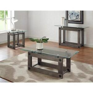 GLASS TOP COFFEE TABLE WITH WOOD BASE (BR2305)