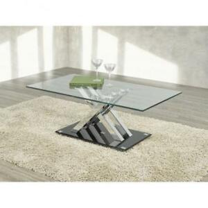 Glass top coffee table with crisscrossed chrome legs (BR269)