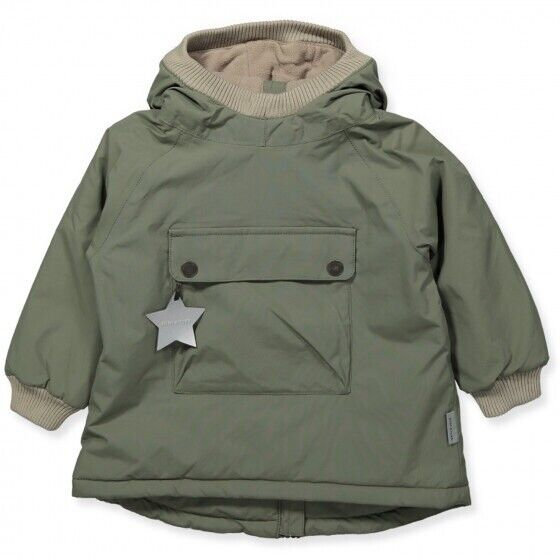 Mini A Ture Baby Wen Winter Anorak Jacket, Army Green, 86cm, 18-24M