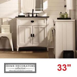 "NEW HDC ARTISAN 33"" VANITY COMBO - 117087909 - HOME DECORATORS COLLECTION WHITE CABINET BLACK MARBLE TOP BATH BATHROO..."