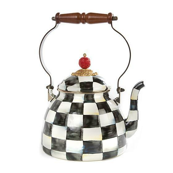 Mackenzie Childs Courtly Check Enamel Tea Kettle - 2 Quart