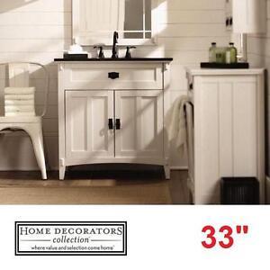 "NEW HDC ARTISAN 33"" VANITY COMBO - 117087909 - HOME DECORATORS COLLECTION WHITE CABINET BLACK MARBLE TOP BATH BATHROO..."