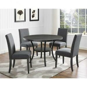 Traditional Dark Grey Round Dining Set on Sale (BD-1791)