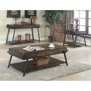 WOODEN AND METALIC COFFEE TABLE (BR250)