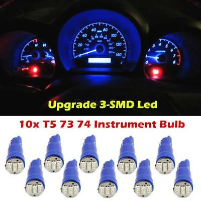 10x T5 74 70 73 3-SMD Car LED Instrument Gauge Dash 12V Light Bulb Blue for GMC