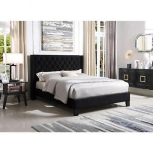 Queen Black Fabric  Bed Frame on Sale in Toronto (BR34)