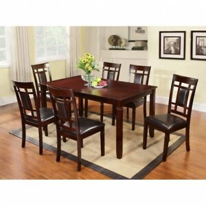 Solid wood dinette set with 6 chairs.