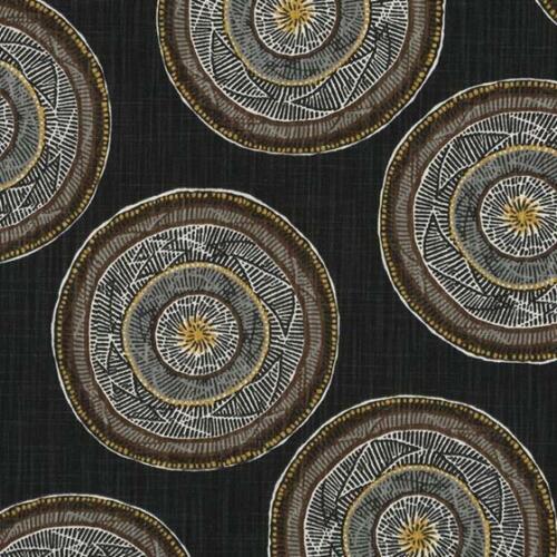 Robert Allen Modern Medallion Circles Print Fabric- Jambasa / Soft Black 29 yds