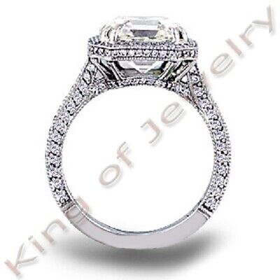 2.25 ct. Asscher Cut Halo Micro Pave Diamond Engagement Ring GIA I, VS1 18k WG 4