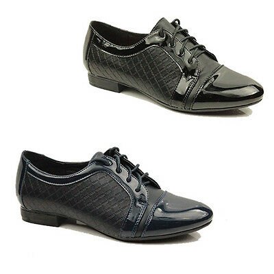 (WOMENS CASUAL LACE UP SCHOOL OFFICE OXFORD LOAFERS SHOES LADIES PUMPS SIZE 3-8)