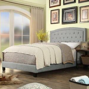 Alton Furniture Vittoria Upholstered Panel Bed, Platform Bed DOUBLE GREY NEW ** 5 CORNERS FURNITURE **