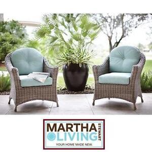 2 NEW* MSL LAKE ADELA PATIO CHAIRS - 118883747 - MARTHA STEWART LIVING 2 PACK