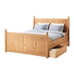 Hurdal Bed Frame, Ikea, King Size Bed Frame, Light Brown