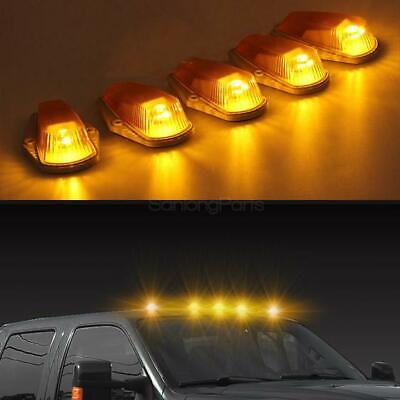 (5) Classic Amber Cab Roof Marker Running Lamps w/ LED Light Bulbs For Truck 4x4