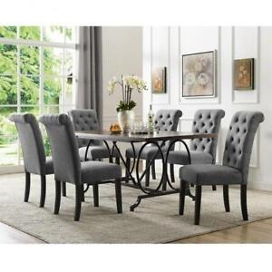 Rectangular 7 PC Dining Set with Grey Tufted Back Chairs (BD-1812)