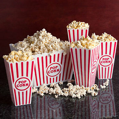 5pc set Large Retro Popcorn Bowl Tub Container Movie Theater Bucket - Reusable