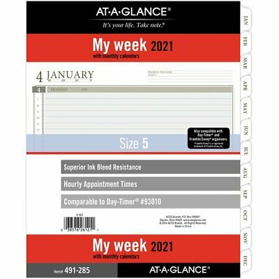 At-a-glance Weekly Planner Refill Size 5 8 12 X 11 January 2021 To